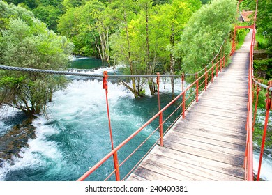 Suspension bridge over the river. Martin Brod, Bosnia and Herzegovina