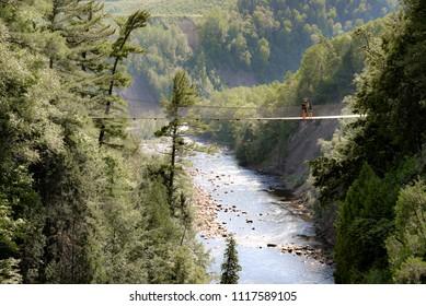 Suspension Bridge  over the Sainte-Anne-du-Nord River at Canyon Sainte-Anne Falls, Beaupré, Quebec