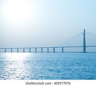 Suspension bridge over the sea in China.