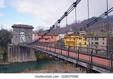 The suspension bridge Ponte delle Catene or Bridge of Chains is a 19th-century suspension bridge in the small town Bagni di Lucca, Tuscany.