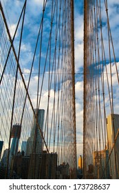 Suspension bridge with skyscrapers in the background, Brooklyn Bridge, Brooklyn, New York City, New York State, USA