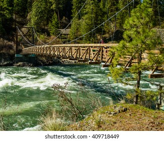 Suspension bridge spanning the Spokane River, at Bowl &Pitcher State Park, Spokane, Washington.