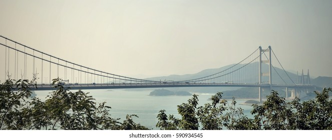 The suspension bridge Tsing Ma in Hong Kong