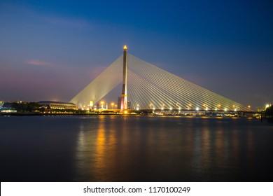 Suspension bridge at twilight