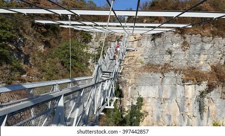 Suspension bridge and White Cliffs, Sky-park in Sochi, Russia