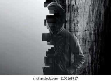 Suspicious man in hoody