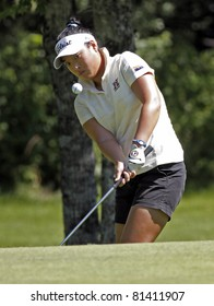 SUSSEX, CANADA - JULY 20: Anna (Younjin) Kim of Chandler, Arizona/Toronto, Ontario chips to the 13th green at the CN Future Links Atlantic Championship on July 20, 2011 in Sussex, Canada.
