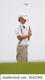 SUSSEX, CANADA - JULY 21: Eric Banks of Truro, NS, reacts after missing a putt on the 53rd hole at the CN Future Links Atlantic Championship on July 21, 2011 in Sussex, Canada.