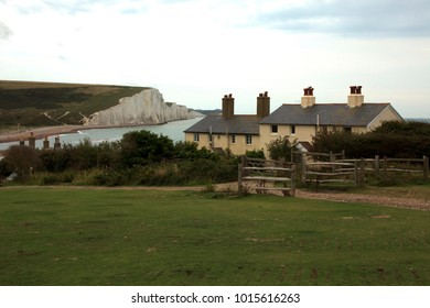 Sussex (England), UK - August 23, 2015: Sussex coast and Seven sisters area cliffs, England, United Kingdom.