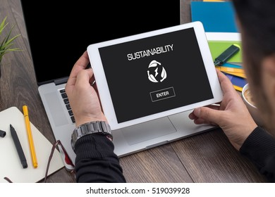 SUSTAINABILITY ICON CONCEPT ON SCREEN