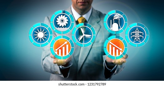Sustainable development planner showing wind, solar and hydro beating nuclear power generation. Industry concept for grid parity, energy transition, clean and renewable resources, sustainability.