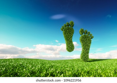 Sustainable eco friendly lifestile concept. 3d rendering of a footprint icon on fresh spring meadow with blue sky in background.