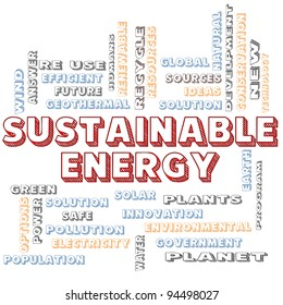 A Sustainable Energy in block letters word cloud concept with terms such as green, solution, solar, earth, planet, recycle and more.