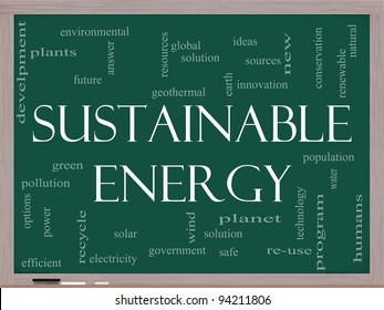 A Sustainable Energy word cloud concept on a blackboard with terms such as green, solution, solar, earth, planet, recycle and more.