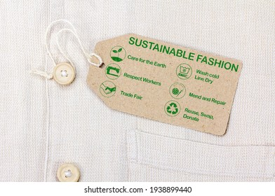 Sustainable fashion label with text and icons - Shutterstock ID 1938899440