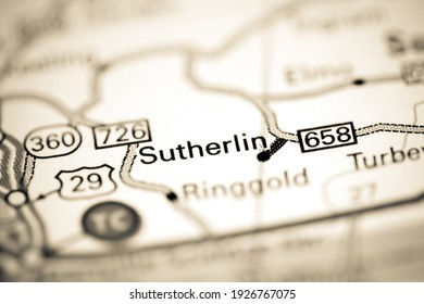 Sutherlin. Virginia. USA on a geography map