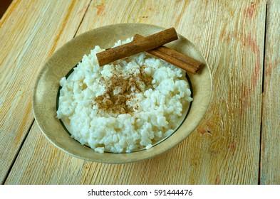 Sutlijash - Macedonian rice pudding. close up