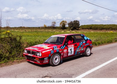 SUTRI, LAZIO, ITALY - APRIL 6, 2014: Red Lancia Delta Martini Racing with the occasion of the 11-th meeting of spring memorial Luciano Polverari.
