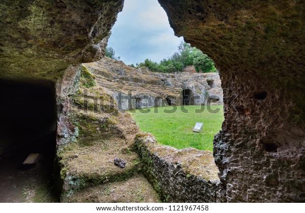 Sutri in Lazio, Italy. The rock-hewn amphitheatre of the Roman period
