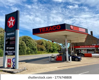 Sutton,Uk/July 13, 2020:A Texaco petrol station on operation.Texaco, Inc. is an American oil subsidiary of Chevron Corporation.