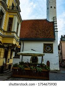 Suurgildi plats, Pikk Street, Tallinn / Estonia - August 30 2019. View on the Suurgildi Plats in old town Tallinn. Poeple are walking around.