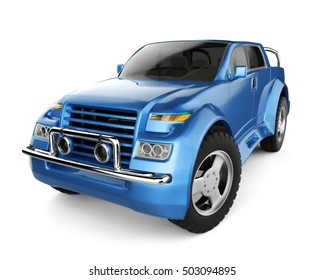 SUV blue brandless concept car - 3D rendering