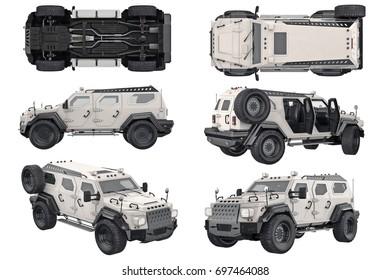 Suv car modern travel transportation set. 3D rendering