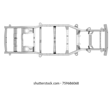 SUV chassis 3D Illustration