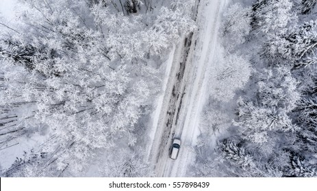 Suv driving in white snowy evergreen forest on slippery asphalt road. Aerial view from drone