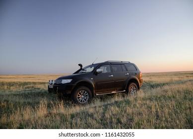 SUV Mitsubishi Pajero Sport,  Kalmykia, Russia. August 3, 2018