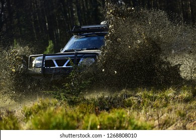 SUV or offroad car on path covered with grass crossing puddle with dirt splash. Extreme, challenge and 4x4 vehicle concept. Car racing in autumn forest. Offroad race on fall nature background.