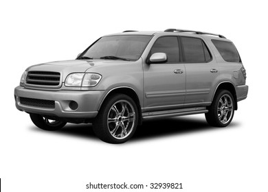 A SUV with tinted windows and cool wheels