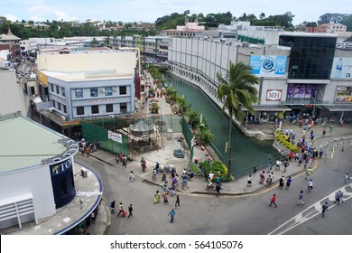 SUVA, FIJI - JAN 06 2017:Aerial view of Suva city center, Fiji. Suva is the capital and second largest municipality and largest municipality with city status in Fiji.