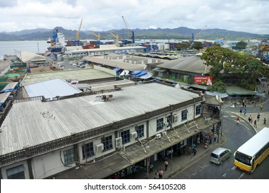 SUVA, FIJI - JAN 06 2017:Aerial view of Suva city center and port, Fiji. Suva is the capital and second largest municipality and largest municipality with city status in Fiji.