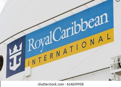 Suva, Fiji - Mar 24, 2017: Sign of Royal Caribbean International on a cruise ship owned the company