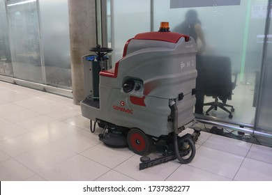 Suvarnabhumi airport, Samutprakarn ,Thailand- May 21 2020: floor cleaning machine, floor scrubber machine