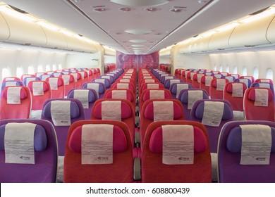 Suvarnabhumi Airport,Bangkok,Thailand,September 2012 : Colourful interior of Thai Airways's Airbus A380