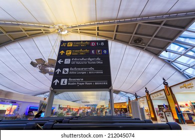 Suvarnabhumi International Airport on August 12, 2014 in Bangkok, Thailand. The airport is handling about 45 million passengers annually.