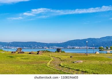 Suwa City, Japan - June 4, 2018: Lakeside Park of Suwa City in Suwa, Japan.