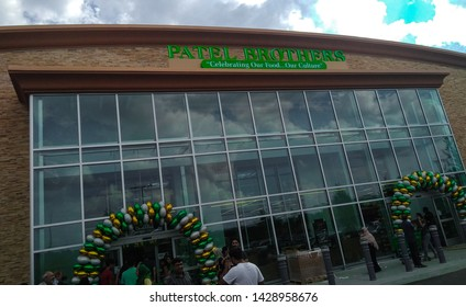 Suwanee, Georgia, USA - June 16 2019: Patel brothers store front in the Grand opening week of the new branch oof the Indian grocery store in Suwanee, GA.