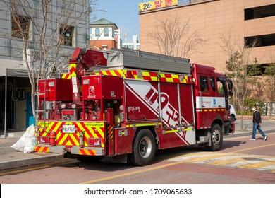 Suwon, Gyeonggi-do / Korea, April 18, 2020:Fire trucks, ambulances, firefighters' actual appearance (Korea)