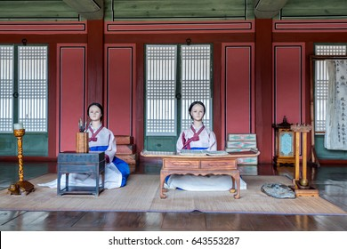 Suwon, Korea, February 13th 2017, Statue of people dressing traditional clothes studying in the school of the Hwaseong Haenggung Palace, where king Jeongjo and royal family retreated to during a war