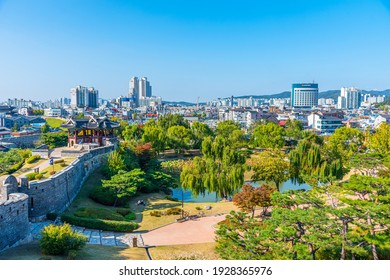SUWON, KOREA, OCTOBER 24, 2019: Banghwasuryujeong Pavilion and Yongyeon pond at Suwon, Republic of Korea