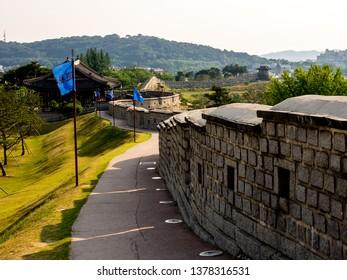 Suwon, South Korea - June 19, 2017: Hwaseong Fortress (Seojangdae) or Suwon Hwaseong is a fortification surrounding the centre of Suwon.