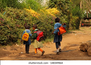 SUYE, TANZANIA - SEPTEMBER 10 : Three young African schoolgirls walk home from school in their uniforms in Suye, Tanzania on September 10, 2012.  Nearly all schools in Tanzania require uniforms.