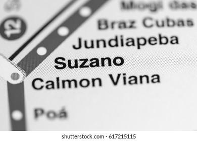 Suzano Station. Sao Paolo Metro map.