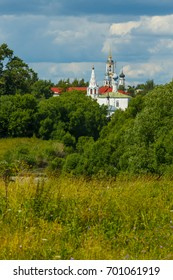 Suzdal domes of churches and bell towers, surrounded with dense trees