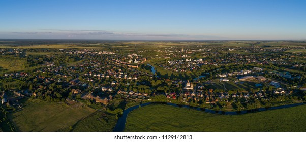 Suzdal, the Golden Ring of Russia. Aerial panorama of Suzdal from the north-western outskirts of the city.