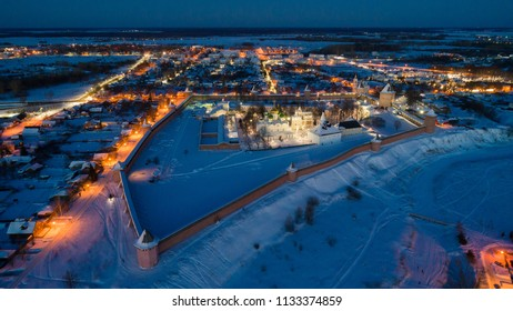 Suzdal, the Golden Ring of Russia. Aerial view of the Spaso-Evfimimev Monastery on a winter evening.