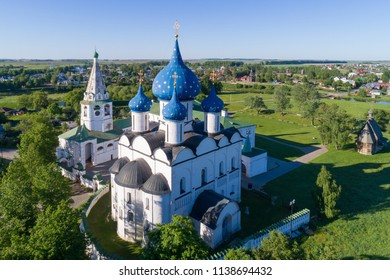 Suzdal, the Golden Ring of Russia. Aerial view of the Nativity Cathedral and the bell tower of the Suzdal Kremlin.